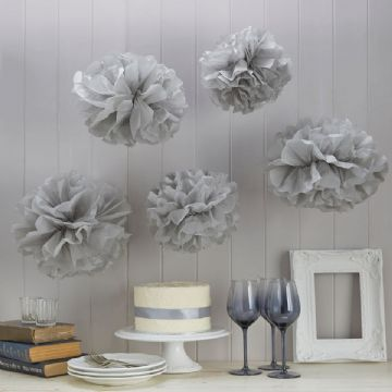 Grey Tissue Paper Pom Poms -  pack of 5